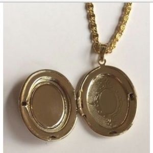 "Jewelry - Gold Cameo Necklace Locket Plus Size 24"" X-Long"